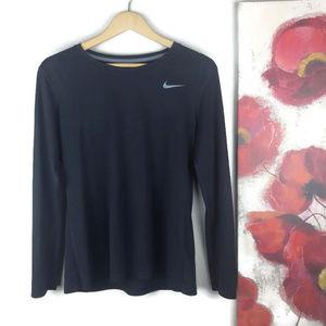 Nike   Womens Dri Fit Long Sleeve Shirt Black Lrg